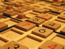 Sudoku. Wood sudoku board and tiles Royalty Free Stock Photos