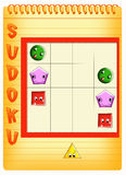 Sudoku 4. Color illustration of a children's play Royalty Free Stock Photography