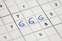 Sudoku 666 Stock Photography
