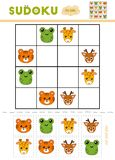 Sudoku for children, education game. Cartoon animals. Frog, Giraffe, Tiger, Deer. Use scissors and glue to fill the missing elements stock illustration