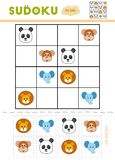 Sudoku for children, education game. Cartoon animals. Monkey, Lion, Elephant, Panda. Use scissors and glue to fill the missing elements royalty free illustration