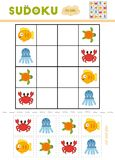 Sudoku for children, education game. Cartoon sea animals. Octopus, Turtle, Crab, Fish. Use scissors and glue to fill the missing elements royalty free illustration