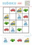 Sudoku for children, education game. Set of transport objects. Sudoku for children, education game. Cartoon set of transport objects - Car, Airplane, Steamship stock illustration