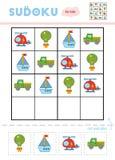 Sudoku for children, education game. Mode of transport vector illustration