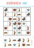 Sudoku for children, education game. Musical instruments. Use scissors and glue to fill the missing elements stock illustration