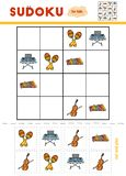 Sudoku for children, education game. Set of musical intstruments. Maracas, Cello, Xylophone, Synthesizer. Use scissors and glue to fill the missing elements vector illustration