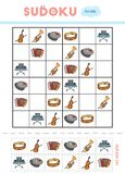 Sudoku for children, education game. Set of musical intstruments. Accordion, Tambourine, Cymbals, Cello, Synthesizer, Trumpet. Use scissors and glue to fill stock illustration