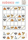 Sudoku for children, education game. Set of musical intstruments. Maracas, Cymbals, Triangle, Castanet, Tambourine, Block flute. Use scissors and glue to fill royalty free illustration