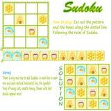 Sudoku con los cuadros para los niños. Foto de archivo