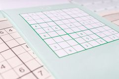 Sudoku crossword, close view. Brainteaser game Royalty Free Stock Images