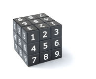 Sudoku cube puzzle. Sudoku numbers cube puzzle on a white background Royalty Free Stock Images