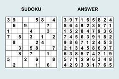 Sudoku del vector con la respuesta 119 Fotografía de archivo