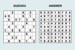 Sudoku del vector con la respuesta 120 Imagen de archivo