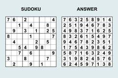 Sudoku del vector con la respuesta 121 Fotografía de archivo