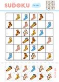 Sudoku dla dzieci, edukaci gra Kreskówka ustawiająca skarpety ilustracji