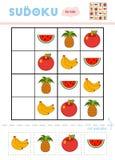 Sudoku för barn, utbildningslek frukter vektor illustrationer