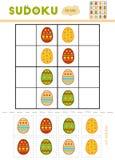 Sudoku för barn, utbildningslek Guld- ägg över grön lutningbakgrund vektor illustrationer