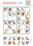 Sudoku för barn, utbildningslek set för illustration för hundar för bakgrundstecknad filmdesign royaltyfri illustrationer