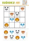 Sudoku för barn, utbildningslek tecknad hand isolerad vektorwhite för djur tecknad film royaltyfri illustrationer