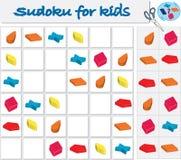 Sudoku für Kinder mit bunten geometrischen Zahlen Spiel für Vorschulkinder stock abbildung