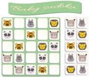 Sudoku f?r Kinder mit bunten geometrischen Zahlen Spiel f?r Vorschulkinder lizenzfreie abbildung