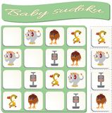 Sudoku f?r Kinder mit bunten Monstern Spiel f?r Vorschulkinder stock abbildung
