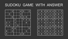 Sudoku game with answer. royalty free illustration