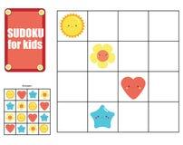 Sudoku game for children. Kids activity sheet with cute shapes. Sudoku game for children with cute shapes. Kids activity sheet. Training logic, educational game royalty free illustration