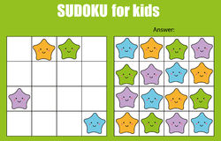 Sudoku game for children. Kids activity sheet with cute stars characters. Sudoku game for children with pictures. Kids activity sheet with cute stars characters stock illustration