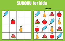 Sudoku game for children. Kids activity sheet Stock Photo