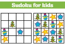 Sudoku game for children with pictures. Logic game for preschool children. rebus for children. Educational game vector illustratio Stock Image