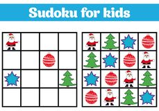 Sudoku game for children with pictures. Logic game for preschool children. rebus for children. Educational game vector illustratio Royalty Free Stock Images