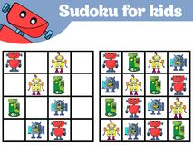 Sudoku game for children with pictures. Logic game for preschool children. Rebus for children. Educational game vector illustratio stock illustration