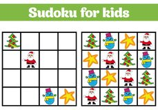 Sudoku game for children with pictures. Logic game for preschool children. rebus for children. Educational game vector illustratio Royalty Free Stock Photos