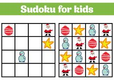 Sudoku game for children with pictures. Logic game for preschool children. rebus for children. Educational game vector illustratio Royalty Free Stock Image