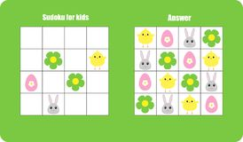 Sudoku game with easter pictures egg, bunny, chick for children, easy level, education game for kids, preschool worksheet activity