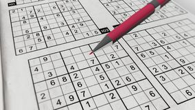 Sudoku Game with Perplexing Grids of Digits. A striking 3d rendering of Sudoku mathematical grids with printed digits, columns, rows and empty boxes filled with Royalty Free Stock Photography