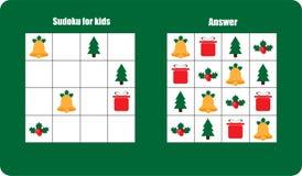 Sudoku gra z bożymi narodzeniami obrazuje dzwon, prezent dla dzieci, łatwy poziom, edukacji gra dla dzieciaków, preschool workshe ilustracja wektor