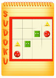 Sudoku for kids. Color illustration of a Sudoku for kids where you must fill the grid so that every row, every column and every box contains a symbol once Royalty Free Stock Photography