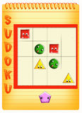 Sudoku for kids 2. Color illustration of a children's play Royalty Free Stock Photography