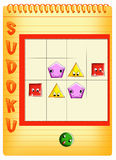 Sudoku for kids 3. Color illustration of a children's play Stock Photography