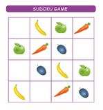 Sudoku for kids. Kids activity sheet. Training logic, educational game. Sudoku game with fruits and vegetables.