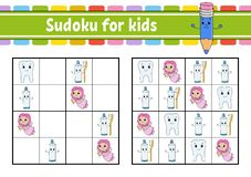 Sudoku for kids. Education developing worksheet. Activity page with pictures. Puzzle game for children. Logical thinking training vector illustration