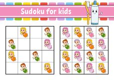 Sudoku for kids. Education developing worksheet. Activity page with pictures. Puzzle game for children. Logical thinking training stock illustration