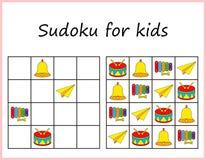 Sudoku for kids. Game for preschool kids, training logic. Worksheet for children. royalty free illustration