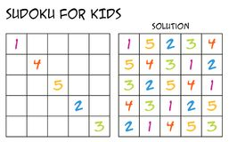 Sudoku for kids with solution - with colorful numbers Royalty Free Stock Photography