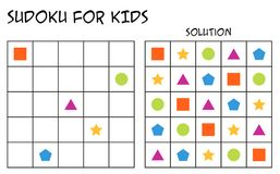 Sudoku for kids with solution, geometrical shapes, version 2. Sudoku for kids with solution, puzzle for children to complete each row or column with just one of stock illustration