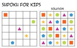 Sudoku para los niños con la solución, formas geométricas, versión 2 stock de ilustración