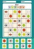 sudoku para los niños, cortar y pegar de la imagen Imágenes de archivo libres de regalías