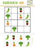 Sudoku per i bambini, gioco di istruzione Insieme delle verdure illustrazione di stock
